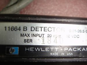 Hp Model 11664b Detector 01 26ghz 20db 10vdc