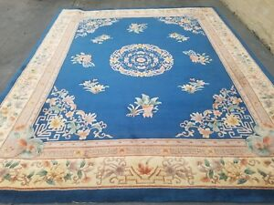 Chinese Oriental 8 10 Ft Rug Peking Blue And Beige Art Deco Rug Vintage