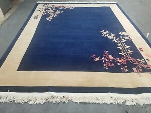 Chinese Oriental8 10 Ft Rug Peking Blue And Beige Art Deco Rug Vintage
