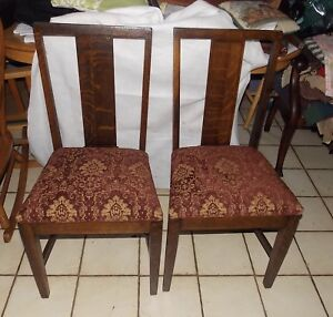 Pair Of Solid Quartersawn Oak Inlaid Chairs Sidechairs By Grand Rapids Sc290