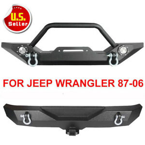 Textured Front Bumper Winch Plate W cree Led Light For 87 06 Jeep Wrangler Tj Yj