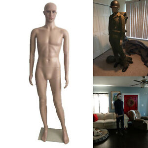 6 ft Male Mannequin Full Body Realistic Display Head Turns Dress Form With Base