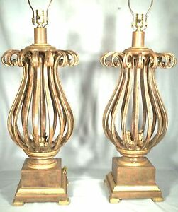 A Great Pair Of Mid Century Hollywood Regency Heavy Wrought Iron Urn Lamps