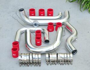 Chrome Intercooler Piping Sqv ssqv Flange Red Coupler Kit For 92 00 Civic