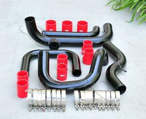 Black Intercooler Piping Sqv ssqv Flange Red Coupler Kit For 92 00 Civic