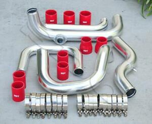 Chrome Intercooler Piping S rs Bov Flange Red Coupler Kit For 92 00 Civic