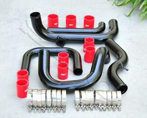 Black Intercooler Piping S rs Bov Flange Red Coupler Kit For 92 00 Civic