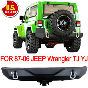 For 87 06 Jeep Wrangler Yj Tj Textured Rock Crawler Rear Bumper Receiver Hitch C