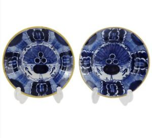 Pair Antique Dutch Delft Peacock Plates