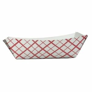 Southern Champion Tray 0409 50 Southland Red Check Paperboard Food Tray Boat