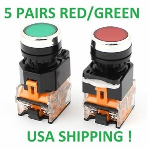 5 Sets 22mm Red green Start stop 5 Red Switch 5 Green Switch Non latching