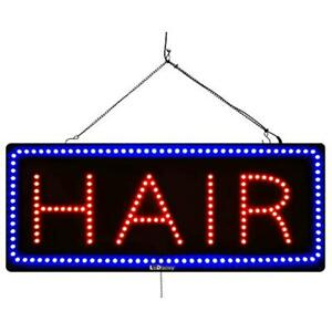 Large Led Window Open Sign hair 13 x32 Size Extra Bright Can Be Seen