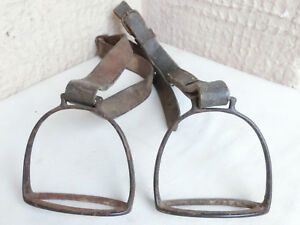 Pair Antique Primitive 1800 S Ottoman Era Iron Horse Straps With Leather Straps