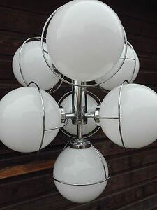 Retro 70 S Sputnik Atomic Chandelier Opaline Glass Globes Chrome Mid Century