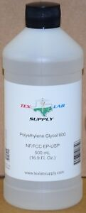 Tex Lab Supply Polyethylene Glycol 600 peg 600 Nf fcc ep usp 500 Ml
