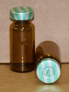 10 Ml Amber Sterile Vial With Green Stripe Center Tear Seal Qty 100