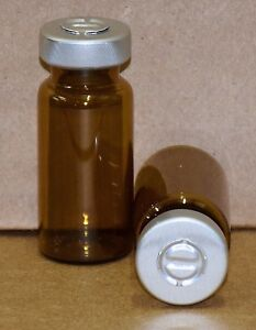 10 Ml Amber Sterile Vial With Natural silver Center Tear Seal Qty 100