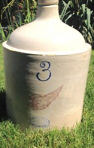 Antique Union Stoneware Redwing 3 Jug With White Glaze