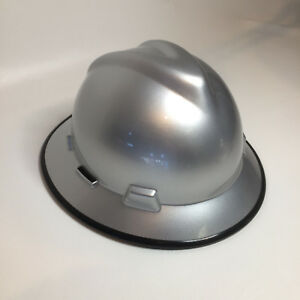 Custom Hard Hat Msa Full Brim Silver Metalic W Black Edgegard W Brb Tshirt