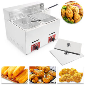 20l Commercial Countertop Gas Fryer 2 Basket Gf 72 Propane lpg W Metal Tube