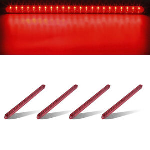 4xred 17 Submersible Stop Turn Tail Led Light Bar Truck Trailer Surface Mount