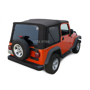 Jeep Tj Wrangler 2003 06 Replacement Soft Top Tinted Windows Black Sailcloth
