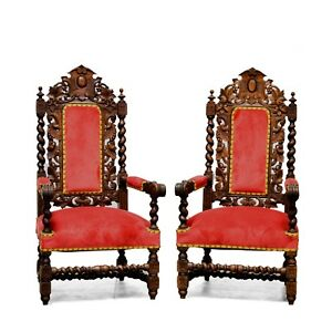 Pair Of Antique French Renaissance Style Carved Hunt Arm Chairs