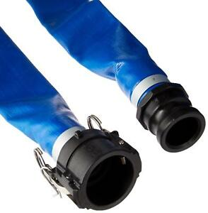 Apache 98138049 2 X 50 Blue Pvc Lay flat Discharge Hose With Poly Cam Lock