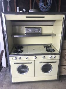 Vintage Retro Yellow 1950 S Built In Western Holly Gas Stove Working