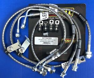 Russell 672430 Stainless Brake Hose Line Kit 1999 05 Chevy Silverado C1500 4wd