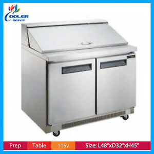 48 Commercial Refrigerator Sandwich Salad Prep Table Nsf Cooler Depot New