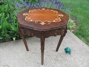 Antique French Walnut Carved Inlay Wood Side Table Restored