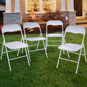 New 4pcs Commercial White Plastic Folding Chairs Stack able Wedding Party Chair