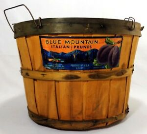 Early Mid 20th C Vint Italian Prune Staved Wood Basket W Paper Label Wire Handle