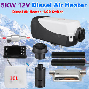 5000w 5kw 12v Air Diesel Heater 10l Tank For Truck Motor homes Bus lcd Switch Qr
