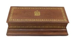 French Vintage Empire Style Eagle Leather Glove Box Or Pencil Case