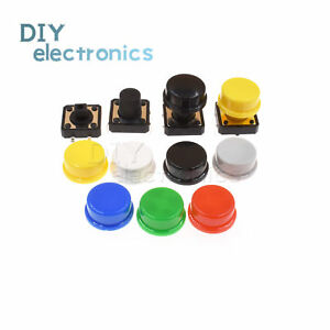 Momentary Tactile Push Button Touch Micro Switch 4p Pcb Caps 12x12x7 3mm 12mm Us