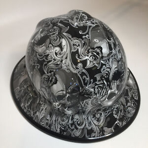Hydro Dipped Hard Hat Msa Full Brim White Filigree Skulls W black Edgegard