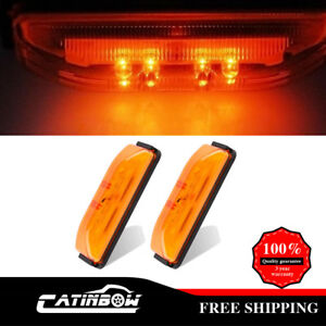 2x Amber Trailer Marker Clearance Led Light Rectangle 4 W Snap On Base 12v