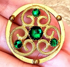 Antique Button Lovely Brass Openwork With Old Prong Set Emerald Green Pastes