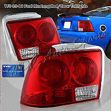 1999 2004 Ford Mustang Red Clear Tail Lights Brake Rear Tail Light