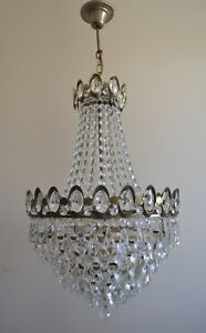 Pendant French Basket Style Vintage Brass Crystals Chandelier Antique Lamp