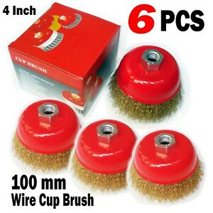 6 Pc 4 X 5 8 Arbor Fine Crimped Wire Cup Wheel Brush For Angle Grinders