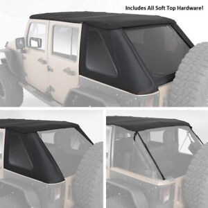 Smittybilt Complete Bowless Soft Top Hardware For 07 18 4 Door Jeep Wrangler Jk