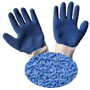Safety Work Gloves G F 1511l 10 Rubber Latex Coated For Construction Blue 120