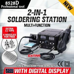 2 In1 Smd Hot Air Rework Station Soldering Iron 11 Tips 4 Nozzles 7 Tweezers My
