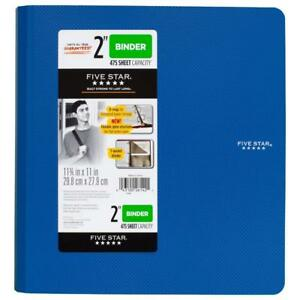 Five Star 2 Inch 3 Ring Binder Plastic Blue 73304