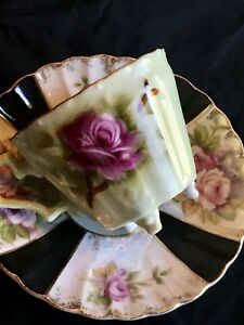 Vintage Hand Painted Lefton China Tea Cup Saucer China Gold Pink Roses