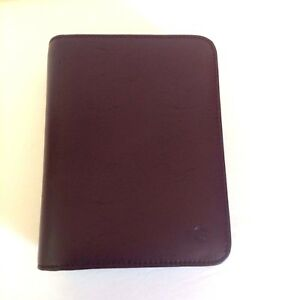 Franklin Covey 6 Ring Day Timer Leather Planner Brown Binder Organizer Zipper