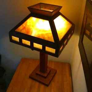 Antique Mission Oak And Slag Glass Lamp Arts Crafts Stickley Era